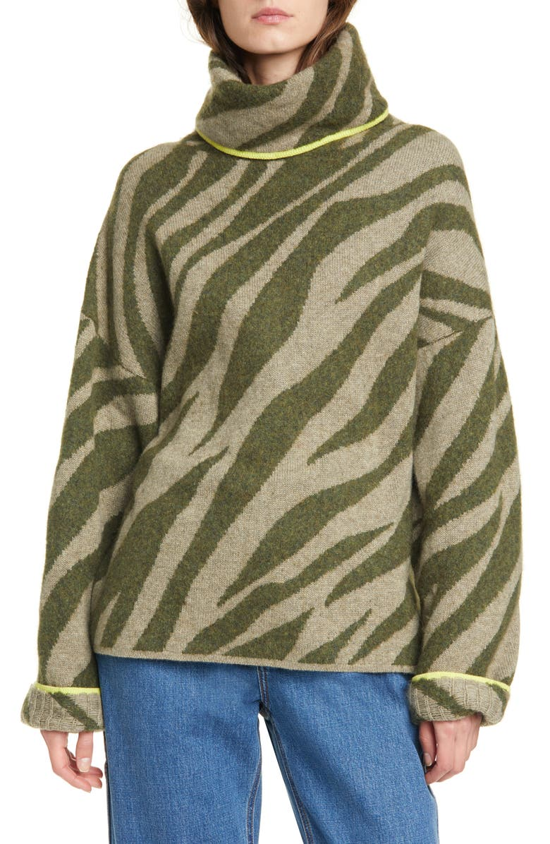 RAG & BONE Kiki Zebra Jacquard Sweater, Main, color, ARMY/ LIGHT ARMY