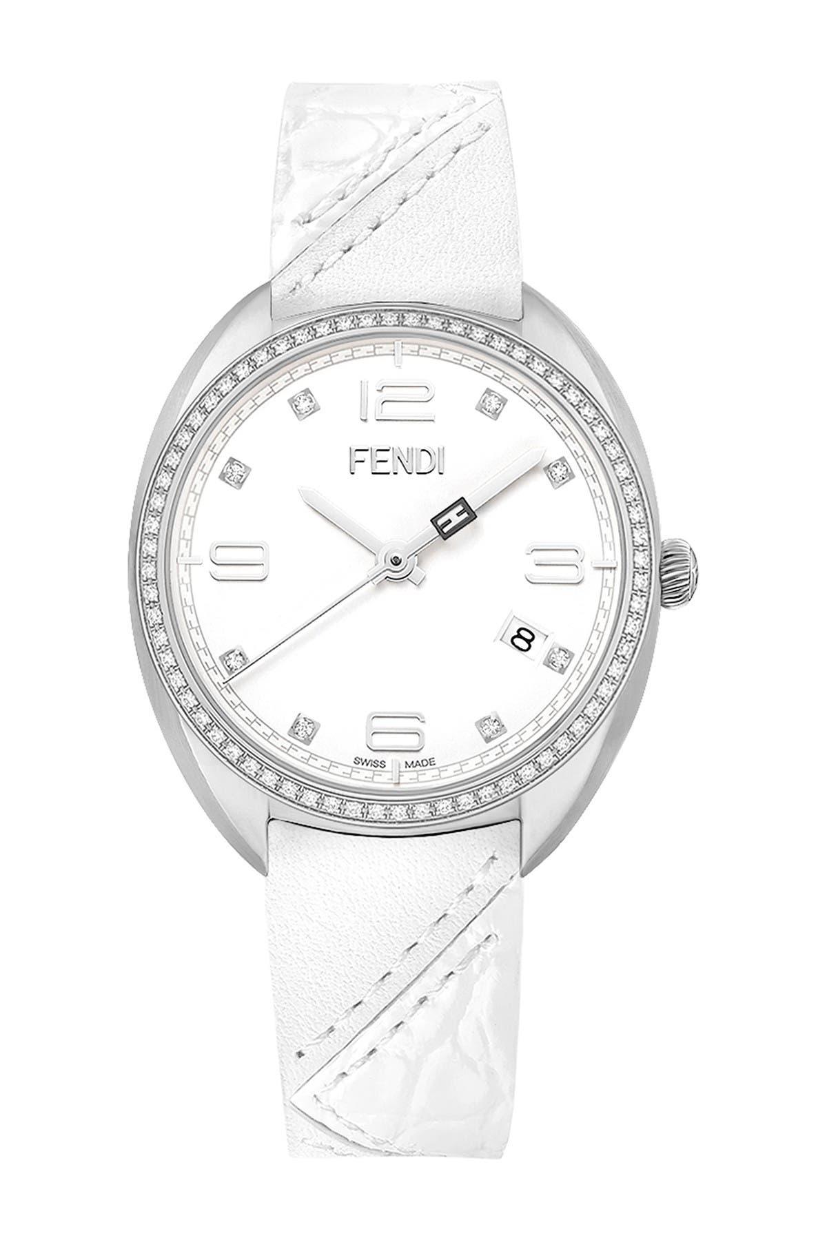 Image of FENDI Women's Momento Fendi Diamond Bezel Leather Strap Watch, 34mm - 0.35 ctw