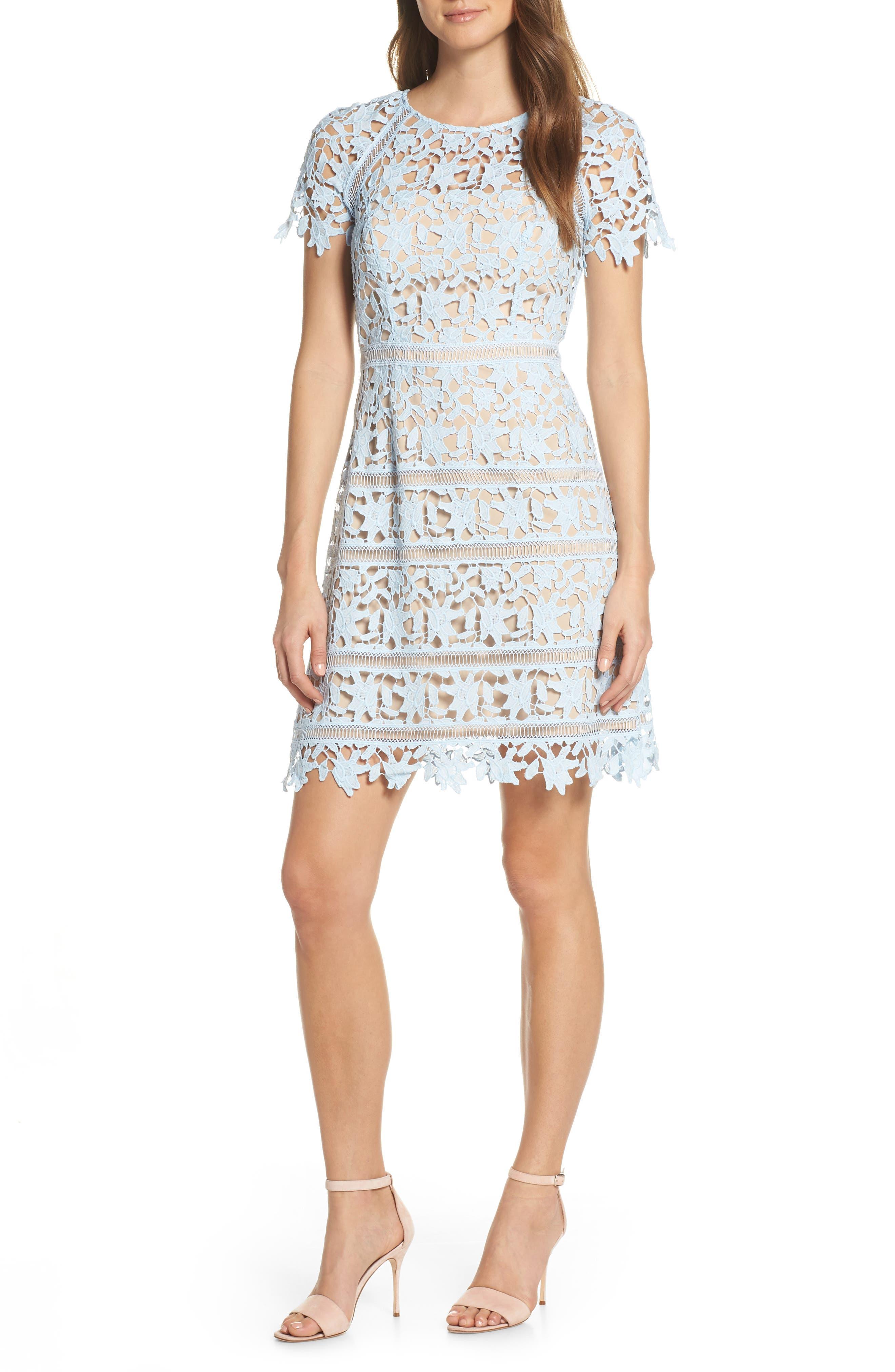 Petite Eliza J Open Lace Dress, Blue