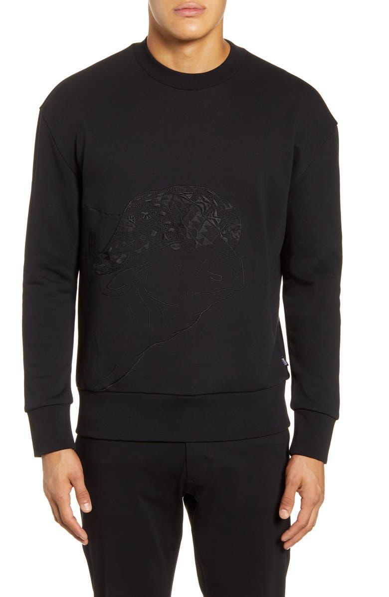 BOSS x Meissen Stadler Embroidered Sweatshirt, Main, color, BLACK