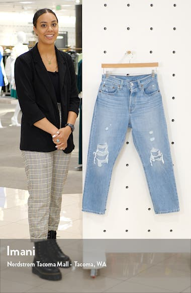 501<sup>®</sup> High Waist Ripped Crop Straight Leg Jeans, sales video thumbnail