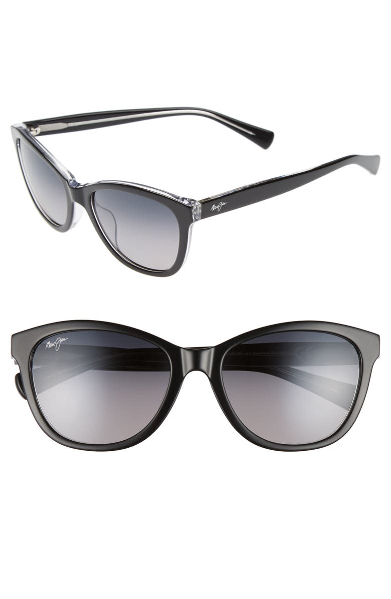 MAUI JIM Canna 54mm PolarizedPlus2<sup>®</sup> Cat Eye Sunglasses, Main, color, BLACK CRYSTAL/ NEUTRAL GREY
