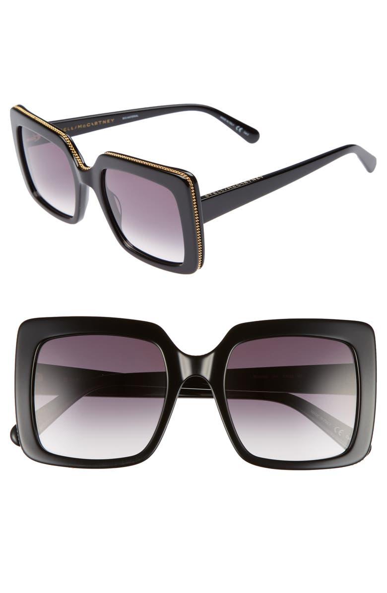 STELLA MCCARTNEY 53mm Square Sunglasses, Main, color, BLACK