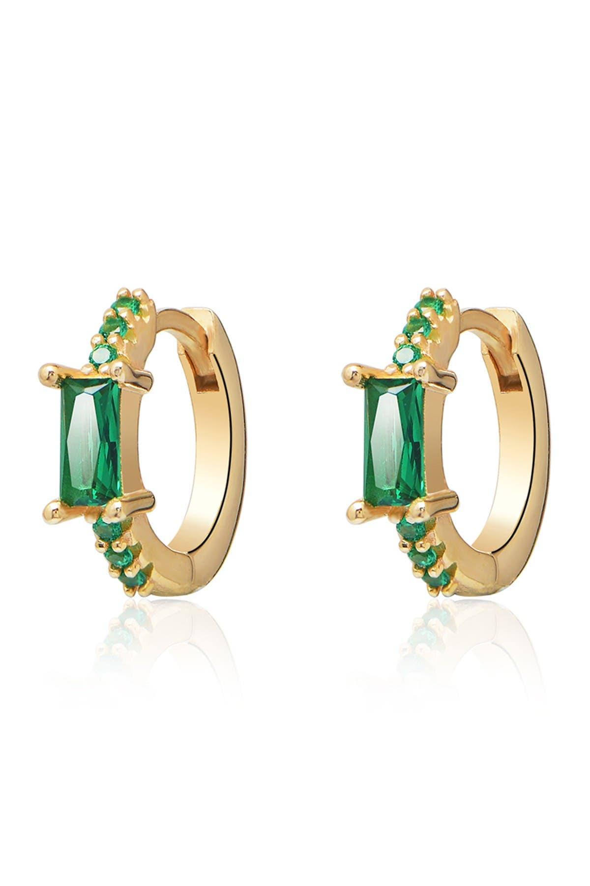 Image of Gabi Rielle Emerald Sparkle Huggie Earrings