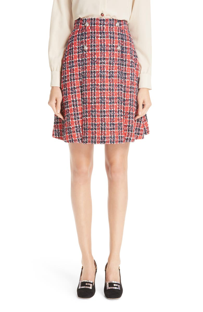c290032a Tiger Button Tweed A-Line Skirt