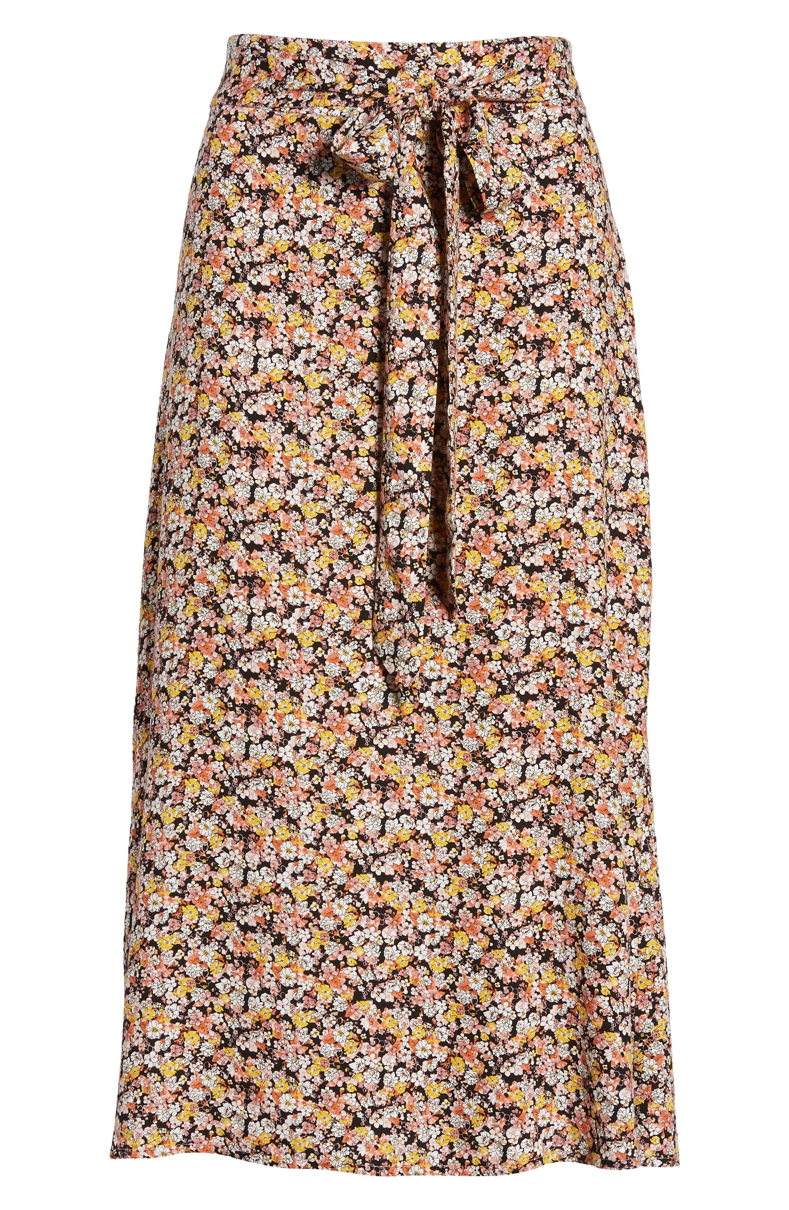 ,                             Tie Waist Floral Print Midi Skirt,                             Alternate thumbnail 6, color,                             BLACK DITSY FLORAL