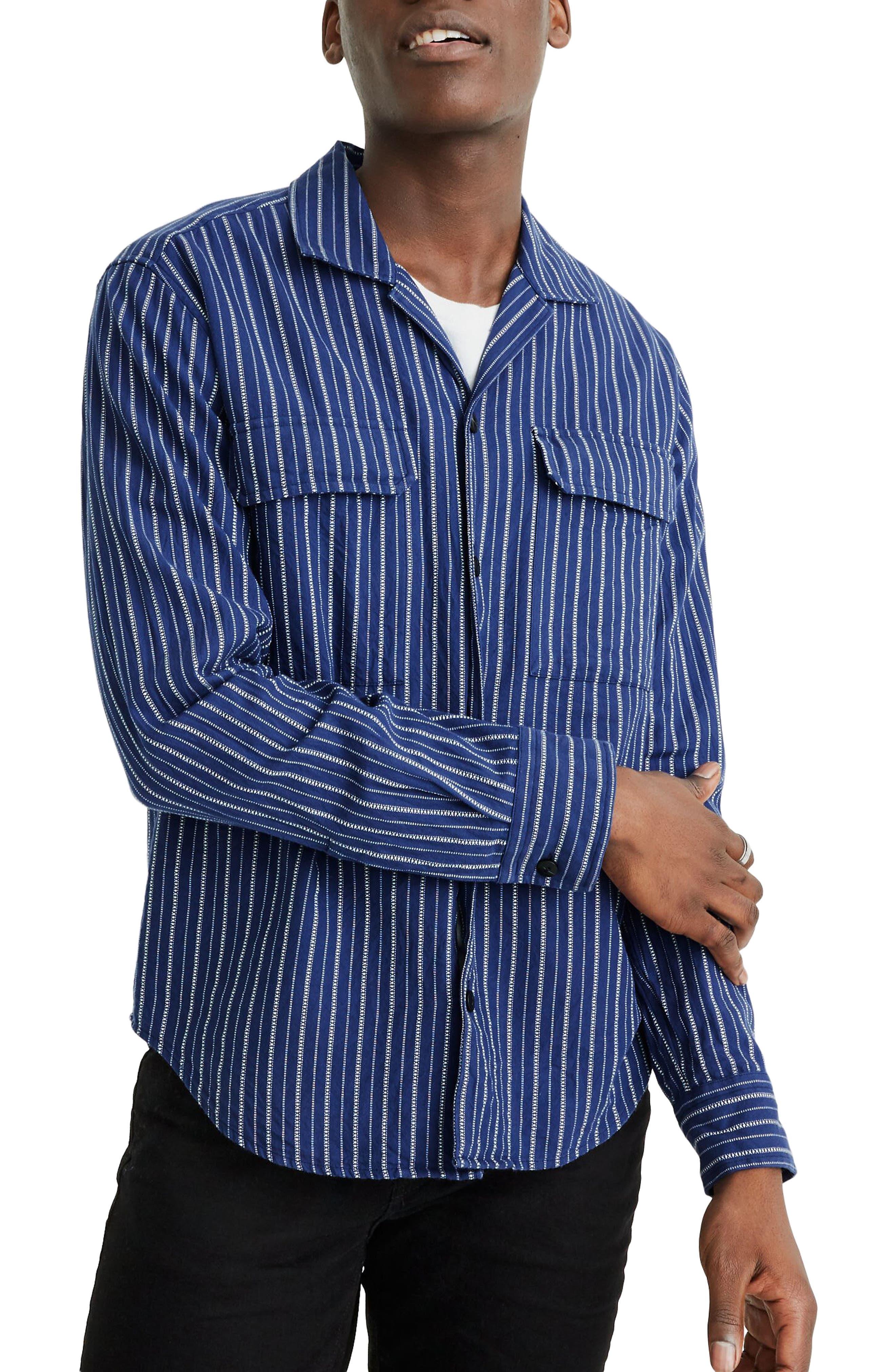 Mens Vintage Shirts – Retro Shirts Mens Madewell Easy Textured Stripe Camp Shirt $42.50 AT vintagedancer.com