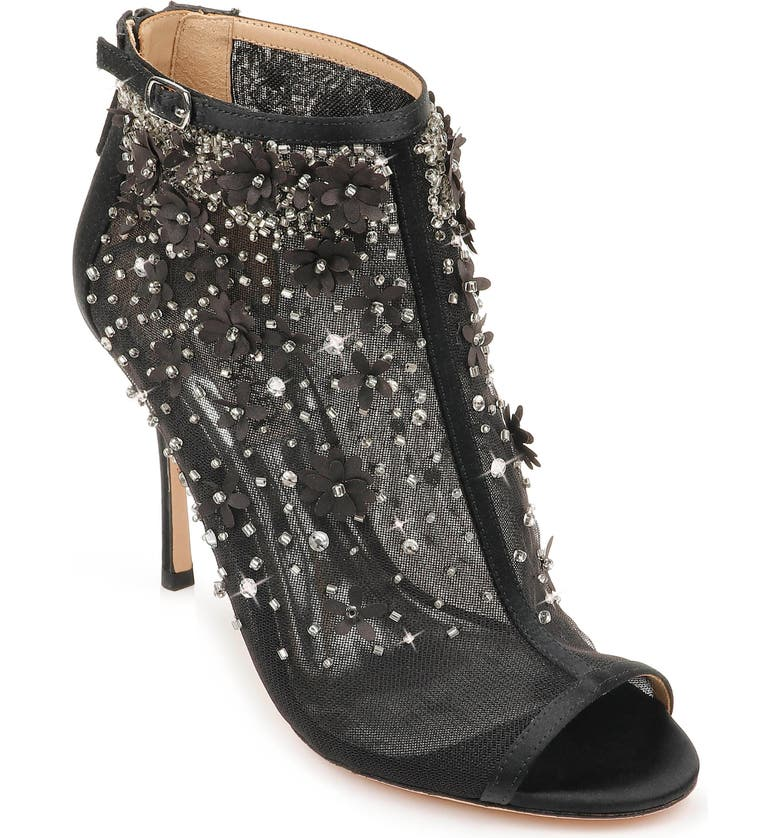 BADGLEY MISCHKA COLLECTION Badgley Mischka Olivia Embellished Open Toe Bootie, Main, color, 015
