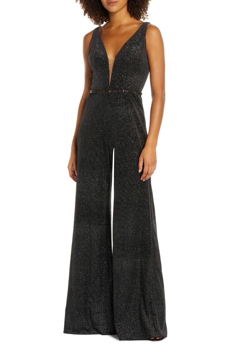 MAC DUGGAL Wide Leg Velvet Jumpsuit, Main, color, BLACK SILVER