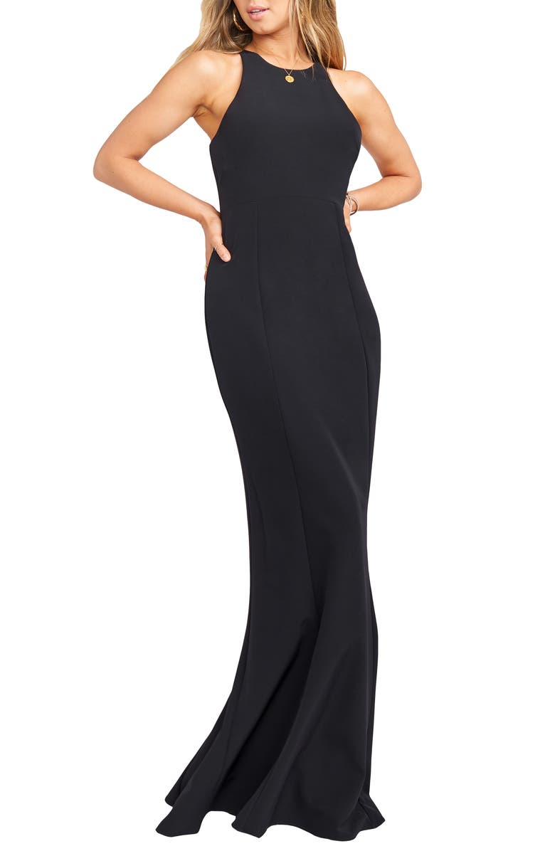 SHOW ME YOUR MUMU Chicago Stretch Crepe Mermaid Gown, Main, color, BLACK STRETCH CREPE