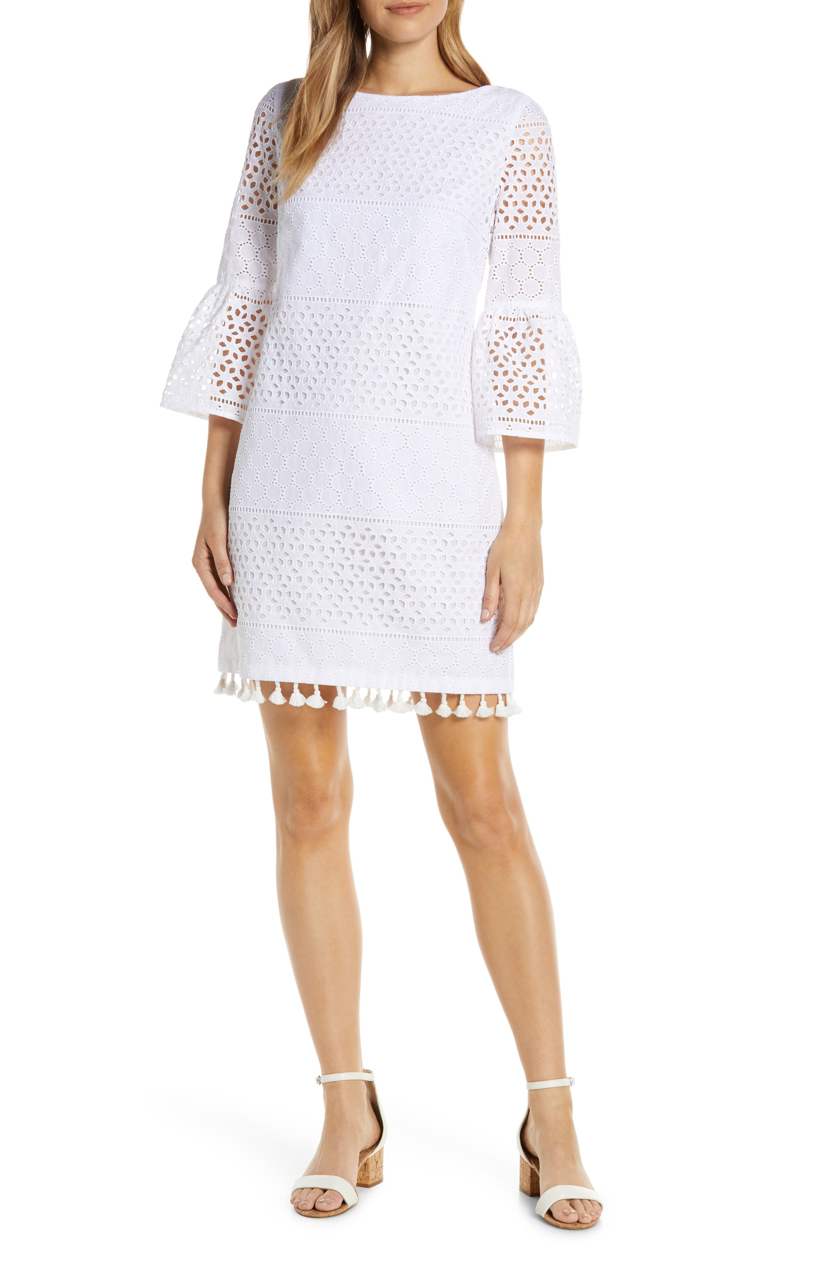 Petite Vince Camuto Bell Sleeve Eyelet Shift Dress, Ivory