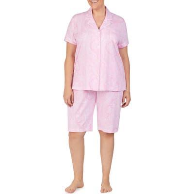 Plus Size Lauren Ralph Lauren Bermuda Pajamas, Pink