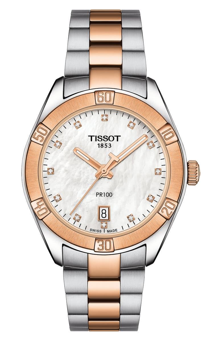 TISSOT T-Classic PR 100 Bracelet Watch, Main, color, SILVER/ MOP/ ROSE GOLD