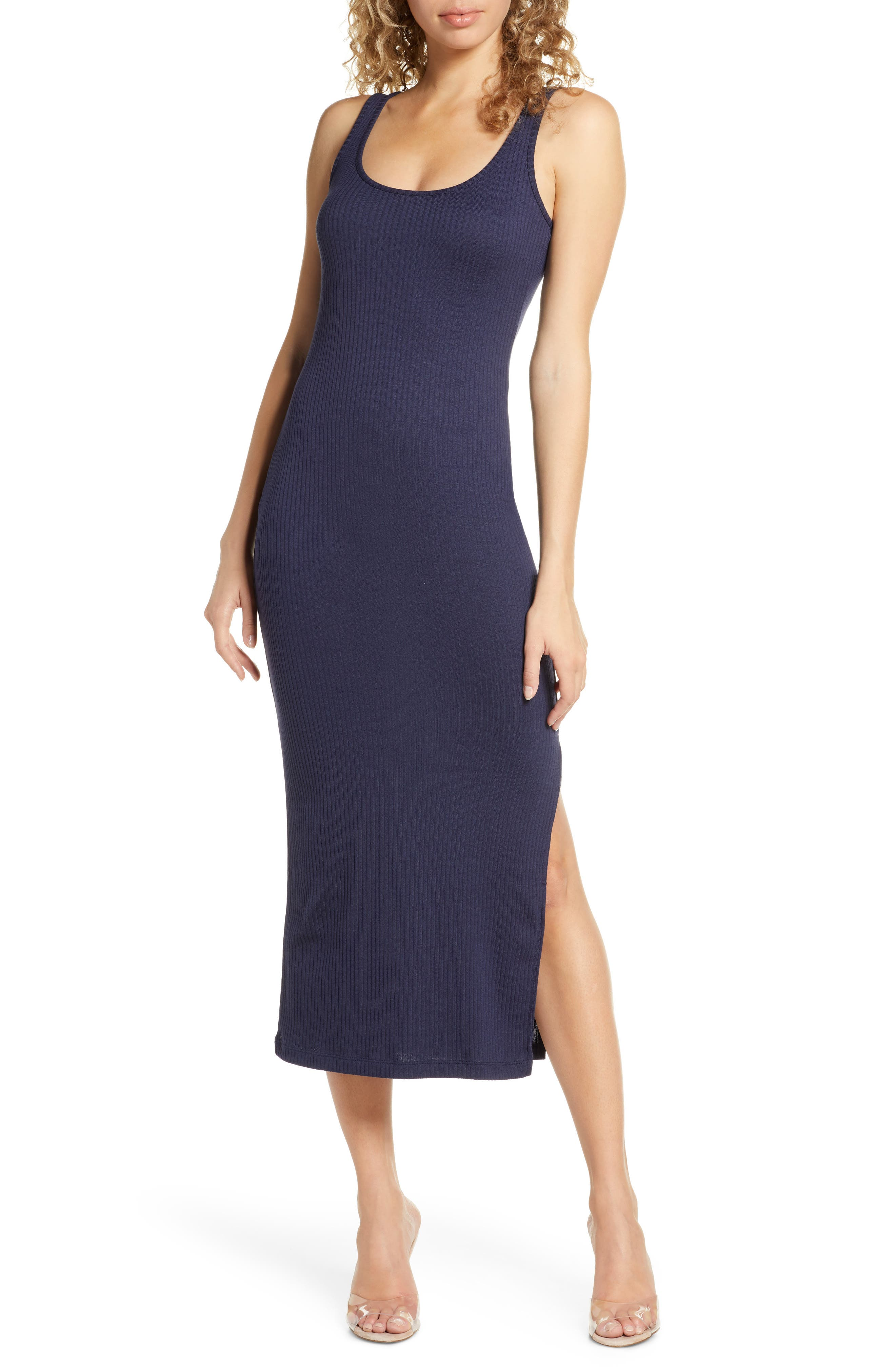 French Connection Tommy Rib Midi Dress, Blue