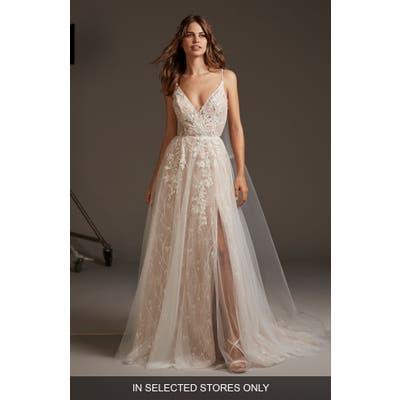 Pronovias Hyperion Embellished Tulle A-Line Wedding Dress, Size - Ivory
