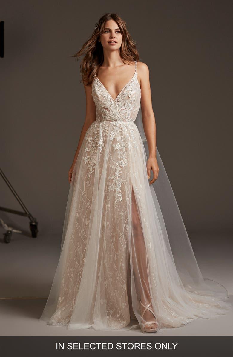 PRONOVIAS Hyperion Embellished Tulle A-Line Wedding Dress, Main, color, OFF WHITE/BLUSH