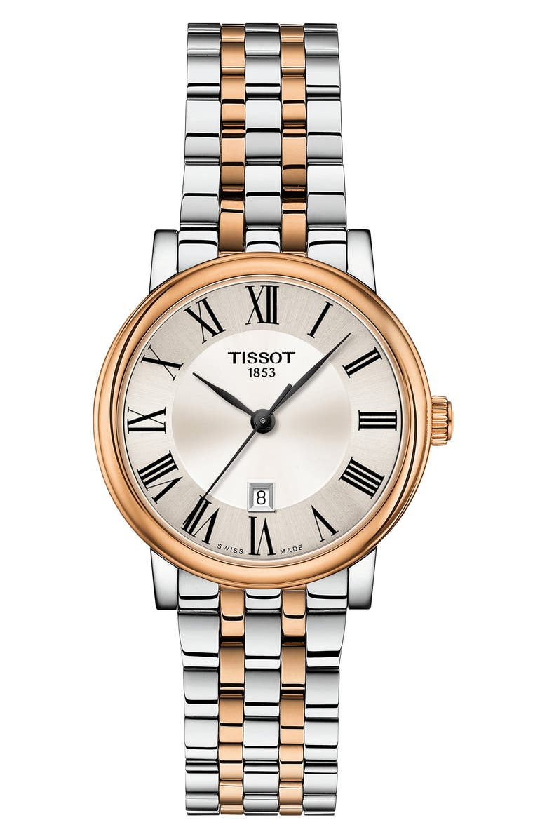 TISSOT T-Classic Carson Watch, 30mm, Main, color, SILVER/ ROSE GOLD