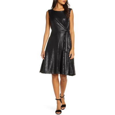 Tahari Matte Sequin Side Tie Sleeveless Fit & Flare Dress, Black