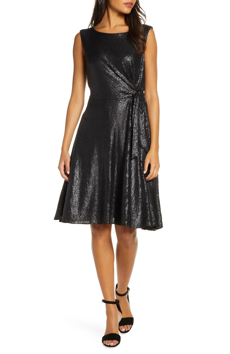 TAHARI Matte Sequin Side Tie Sleeveless Fit & Flare Dress, Main, color, MATTE BLACK SEQUIN