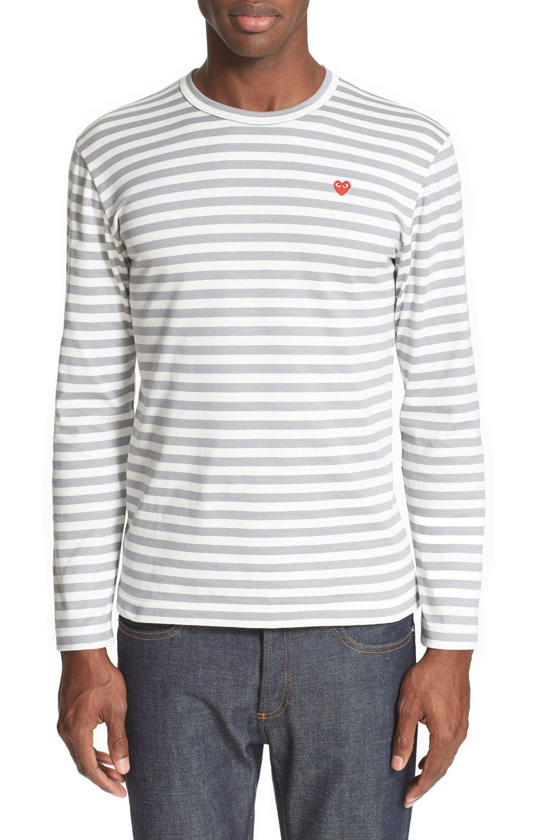 ,                             Long Sleeve Stripe Crewneck T-Shirt,                             Main thumbnail 1, color,                             GREY