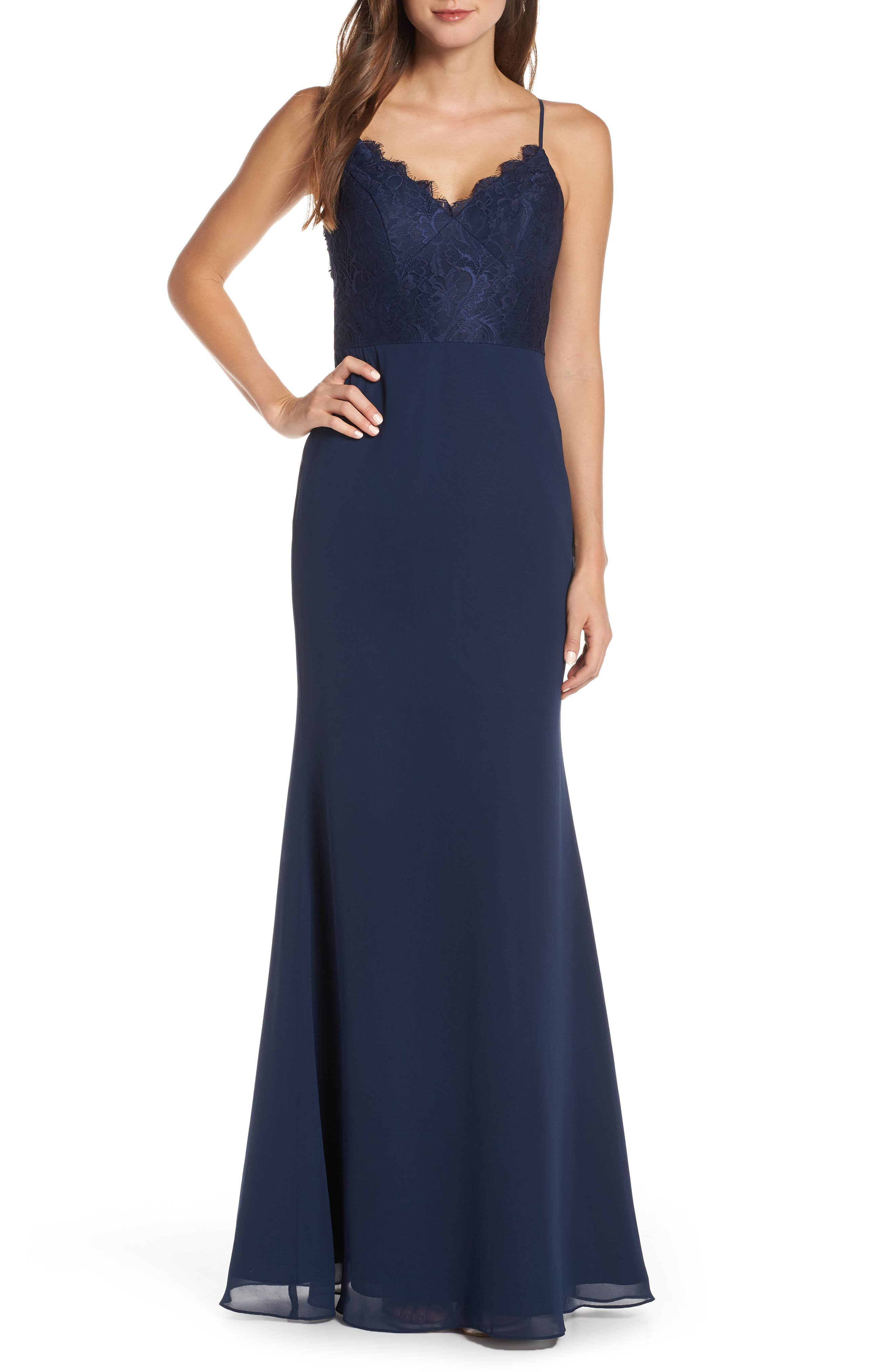 Hayley Paige Occasions Sleeveless Rose Lace & Chiffon Evening Dress, Blue