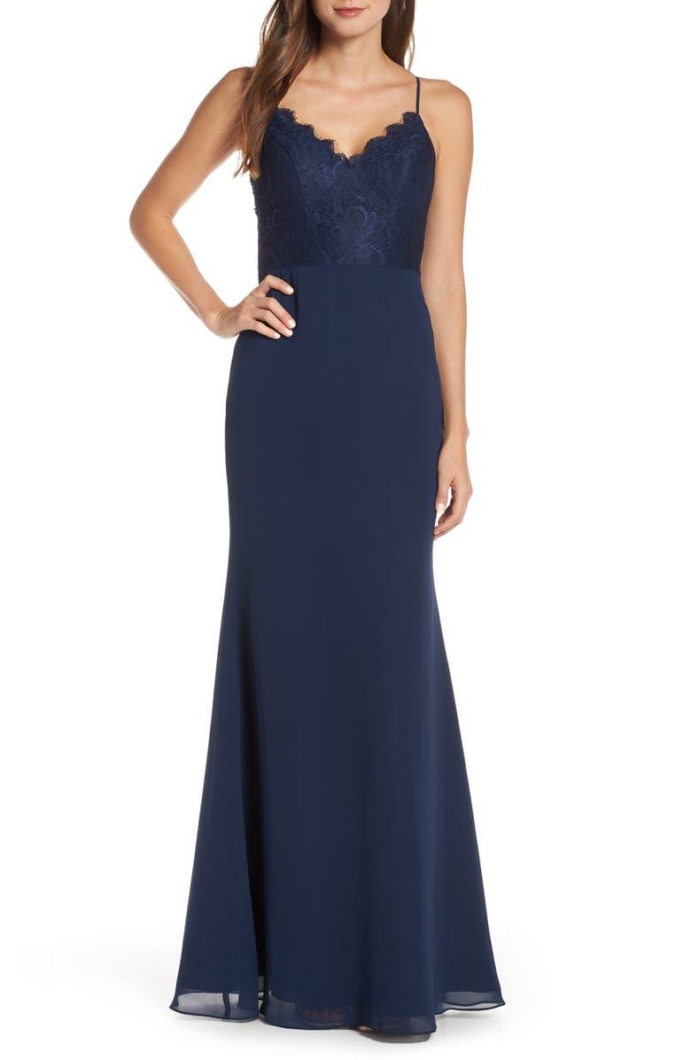 HAYLEY PAIGE OCCASIONS Sleeveless Rose Lace & Chiffon Evening Dress, Main, color, NAVY / INDIGO