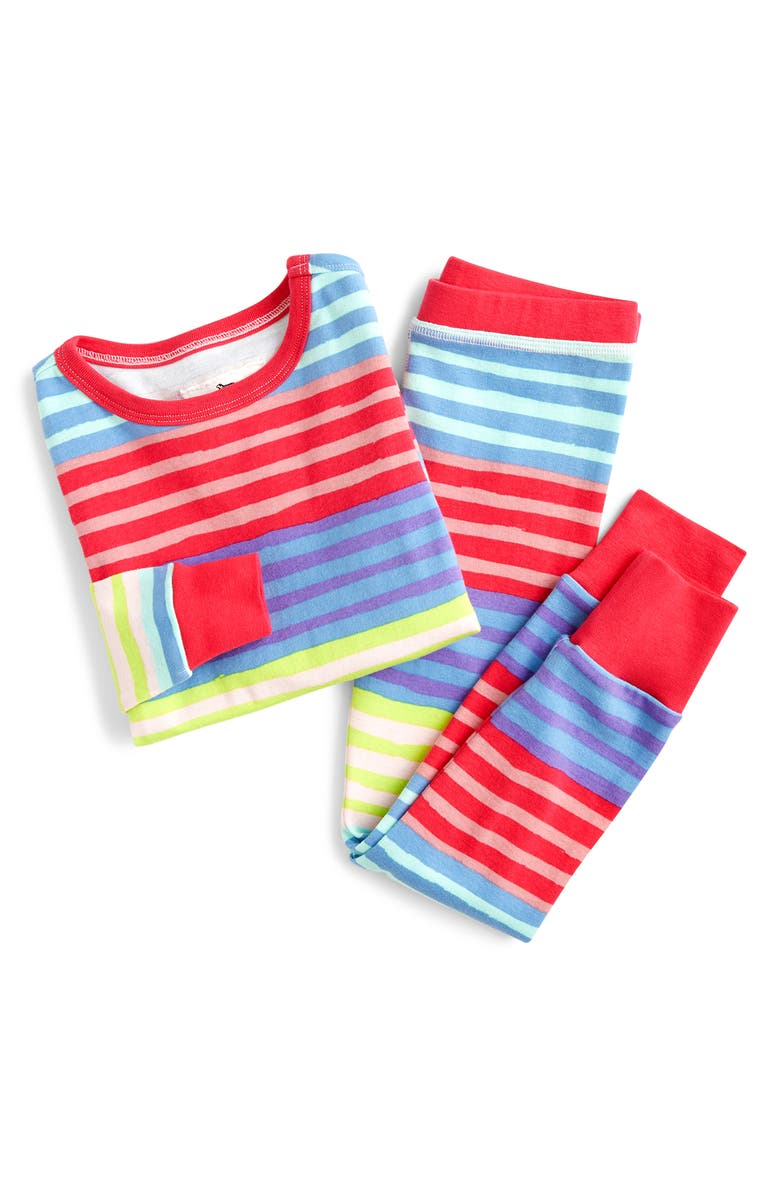 CREWCUTS BY J.CREW Colorblock Stripe Fitted Two-Piece Pajamas, Main, color, STR PINK MULTI