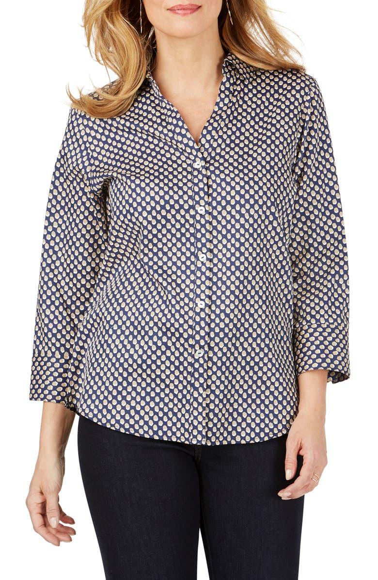 FOXCROFT Mary Shadow Dot Wrinkle-Free Sateen Shirt, Main, color, NAVY