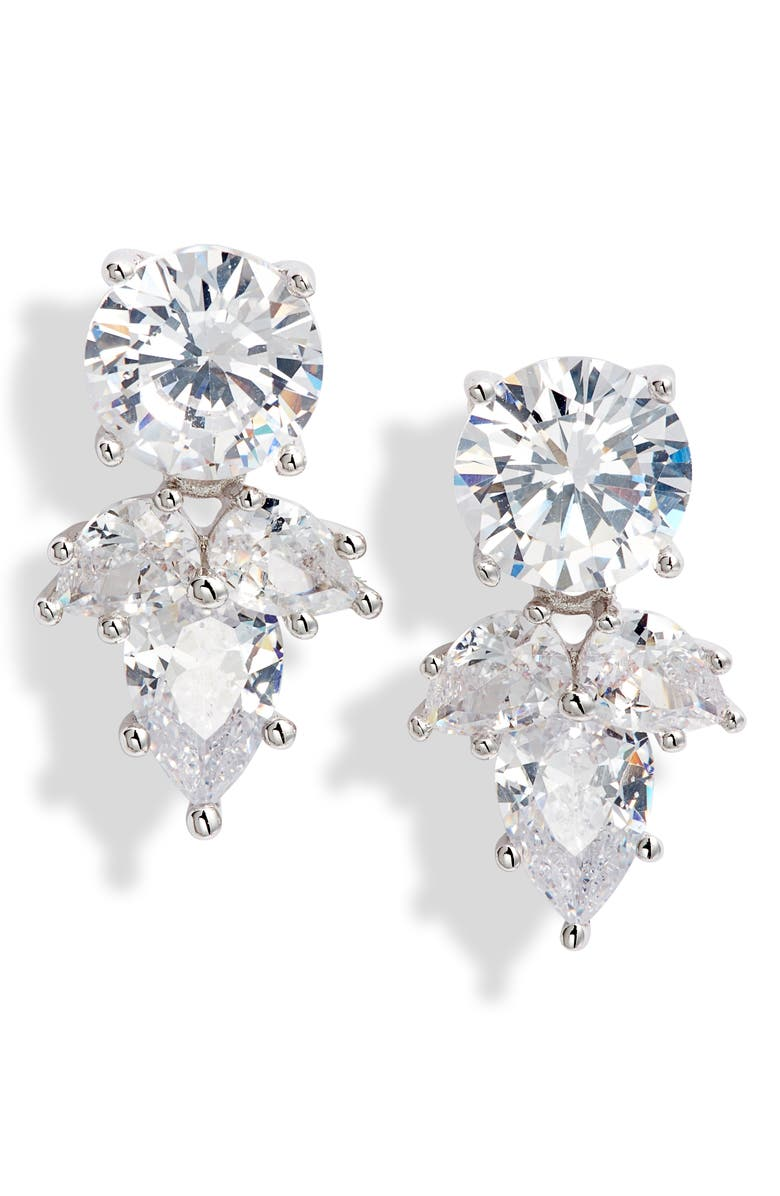 NORDSTROM Teardrop Cluster Cubic Zirconia Stud Earrings, Main, color, CLEAR- SILVER