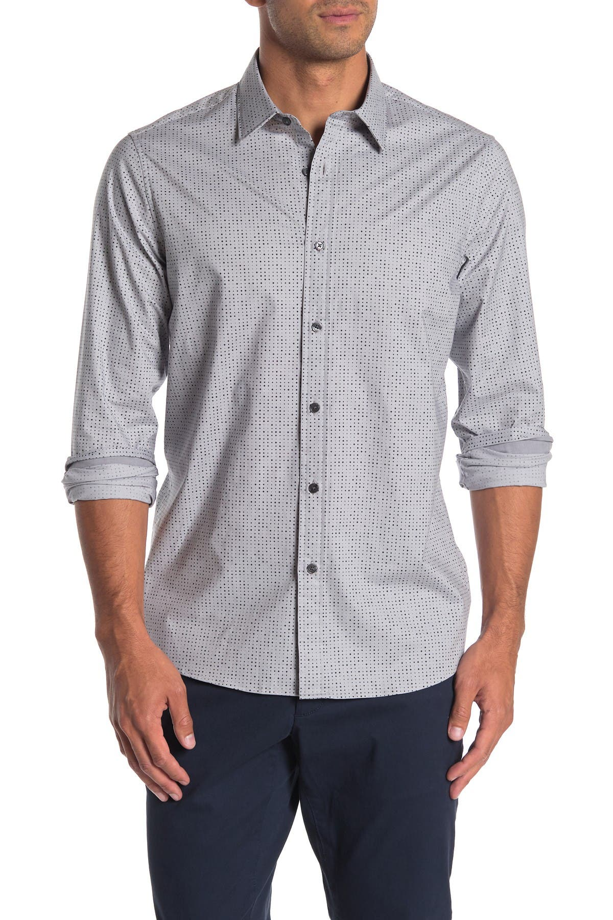 Image of Michael Kors Melange Dotted Long Sleeve Classic Fit Shirt