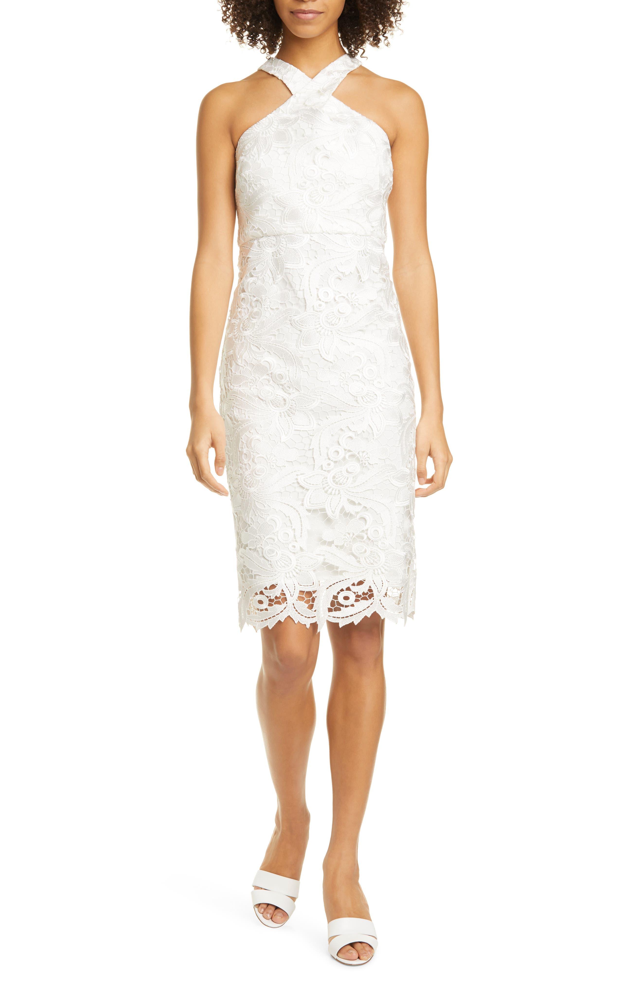 Carolyn High Neck Lace Sheath Dress