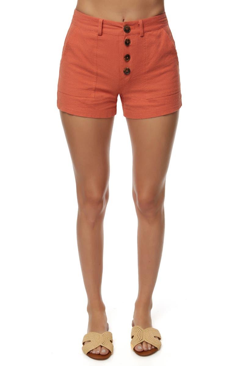O'NEILL Morrison Linen & Cotton Shorts, Main, color, APRICOT BRANDY