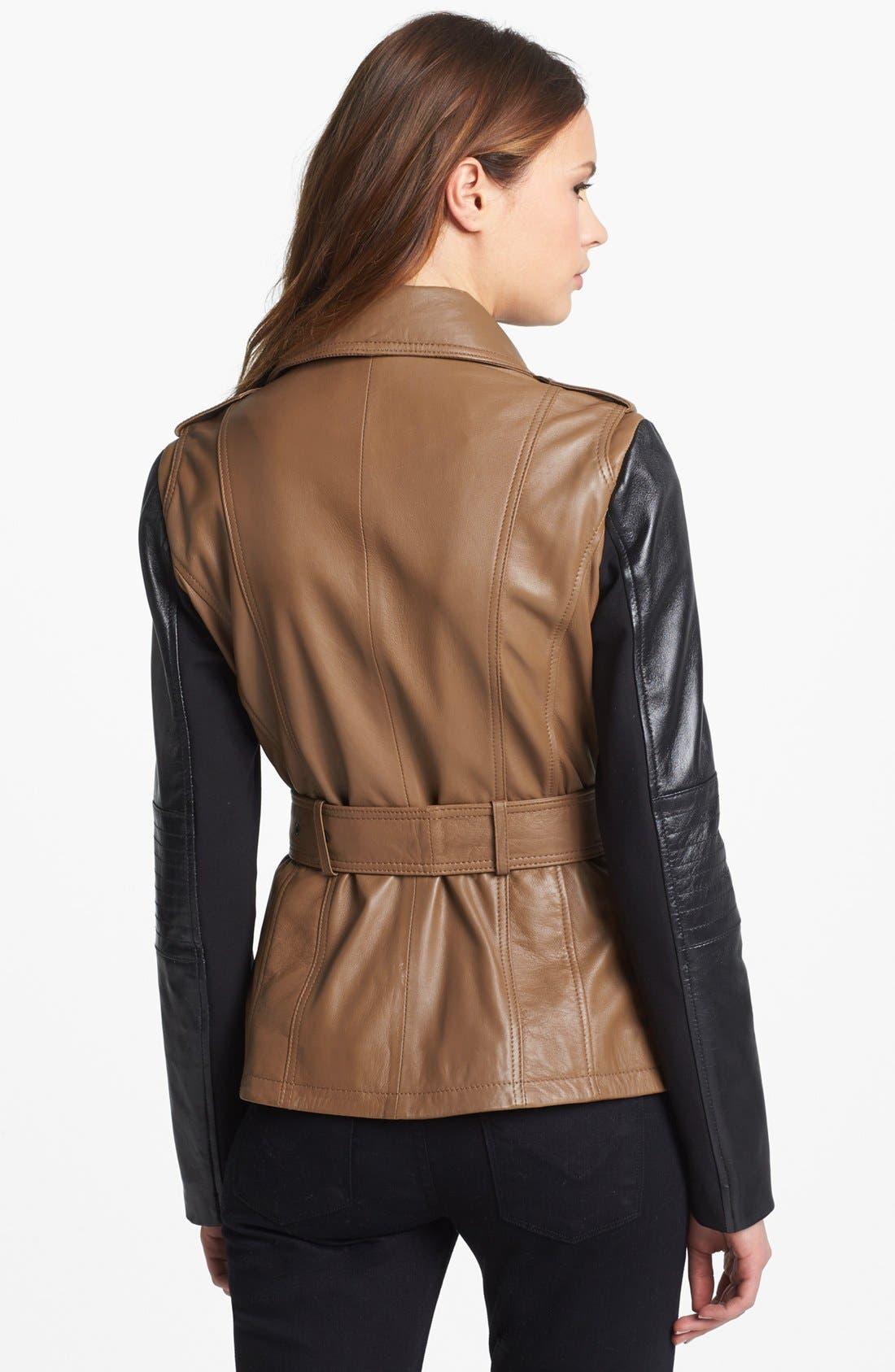 ,                             Two Tone Leather Moto Jacket,                             Alternate thumbnail 3, color,                             250