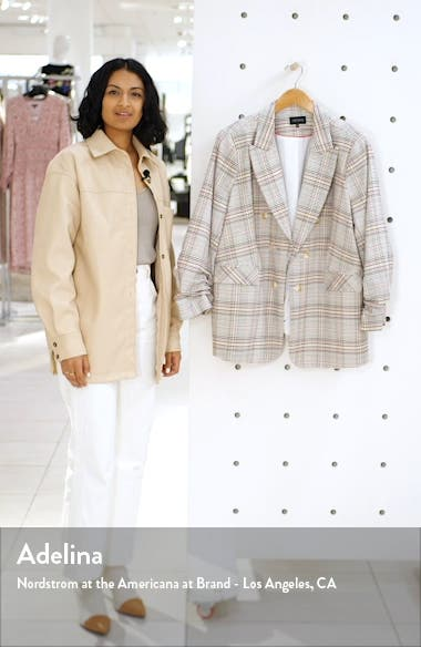 Cassia Ruched Sleeve Plaid Blazer, sales video thumbnail