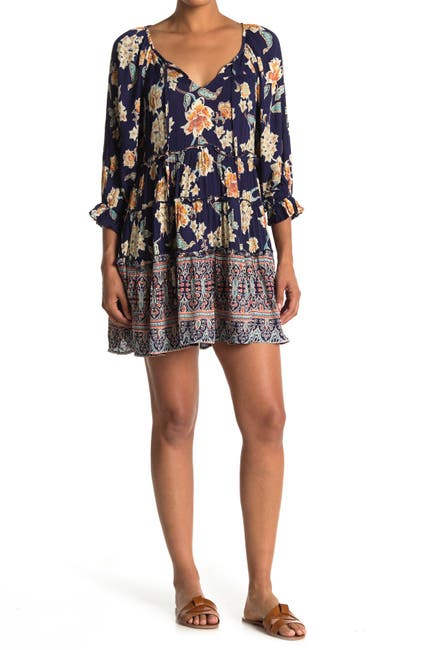 Image of Angie Tie Neck Quarter Sleeve Floral Dress