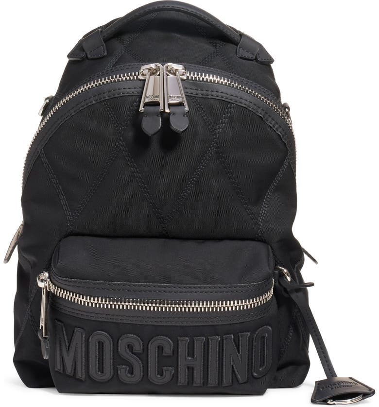 MOSCHINO Quilted Canvas Backpack, Main, color, FANTASY PRINT BLACK