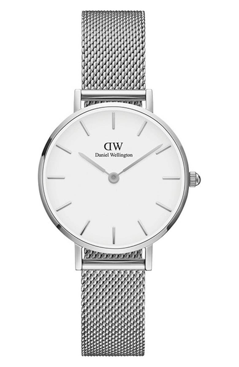 DANIEL WELLINGTON Classic Petite Mesh Strap Watch, 28mm, Main, color, SILVER/ WHITE/ SILVER