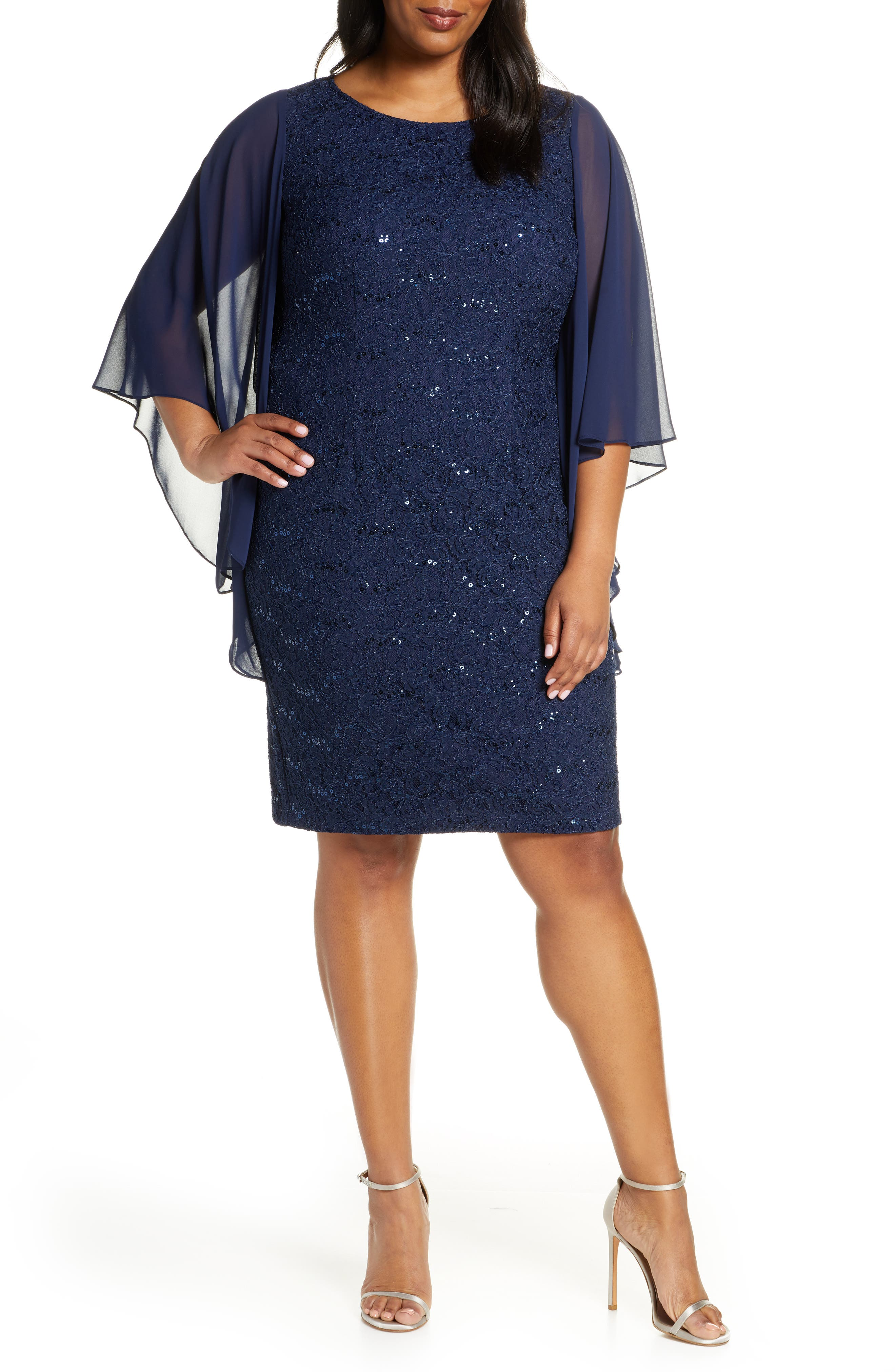 Plus Size Alex Evenings Embroidered Shift Dress, Blue