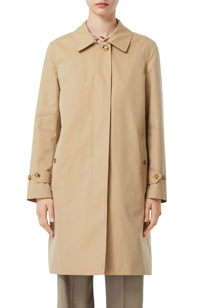 BURBERRY Pimlico Cotton Gabardine Car Coat, Main, color, HONEY