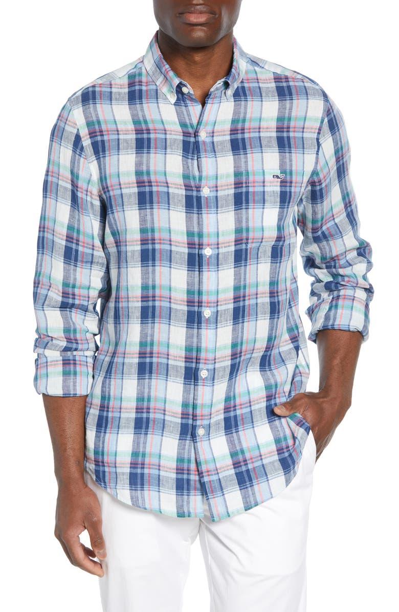 VINEYARD VINES Tucker Classic Fit Plaid Linen Shirt, Main, color, 485