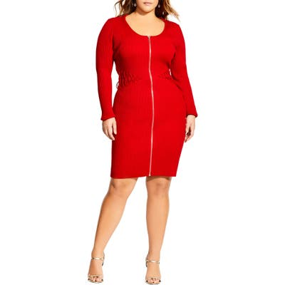 Plus Size City Chic Corset Sweater Dress, Red