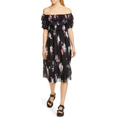 Fuzzi Ruffle Floral Print Off The Shoulder Tulle Dress, Black