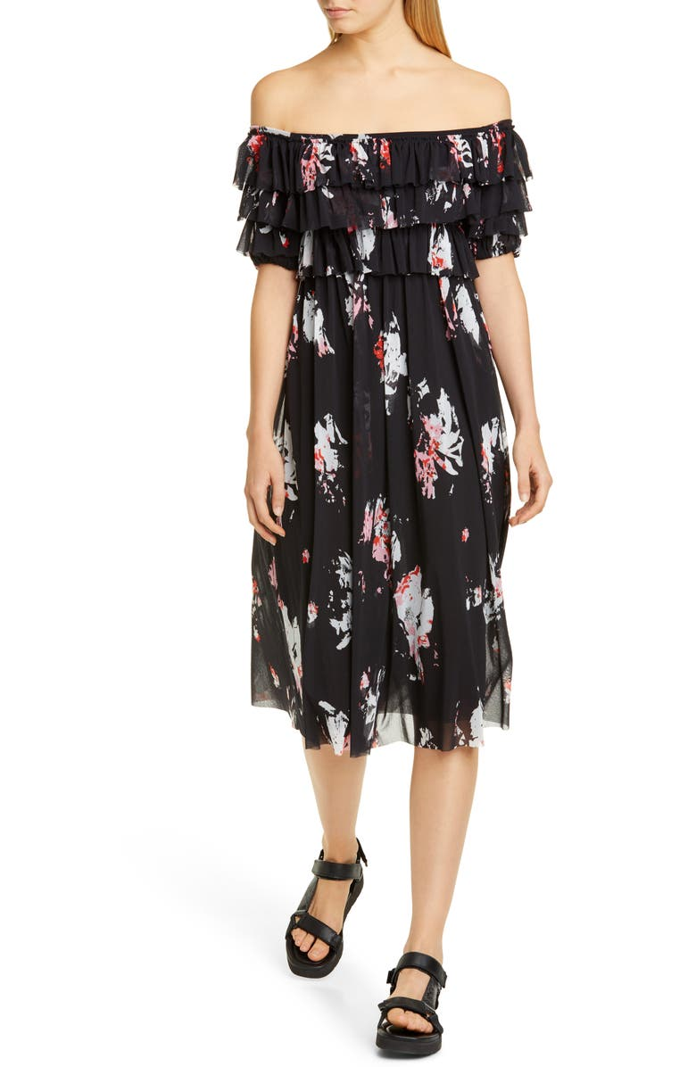 FUZZI Ruffle Floral Print Off the Shoulder Tulle Dress, Main, color, 001