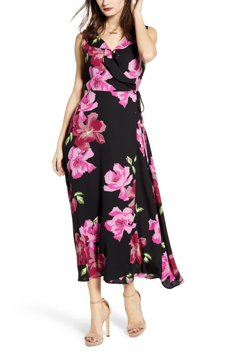 LEITH Flounce Neck Wrap Style Dress, Main, color, BLACK BOLD FLORAL