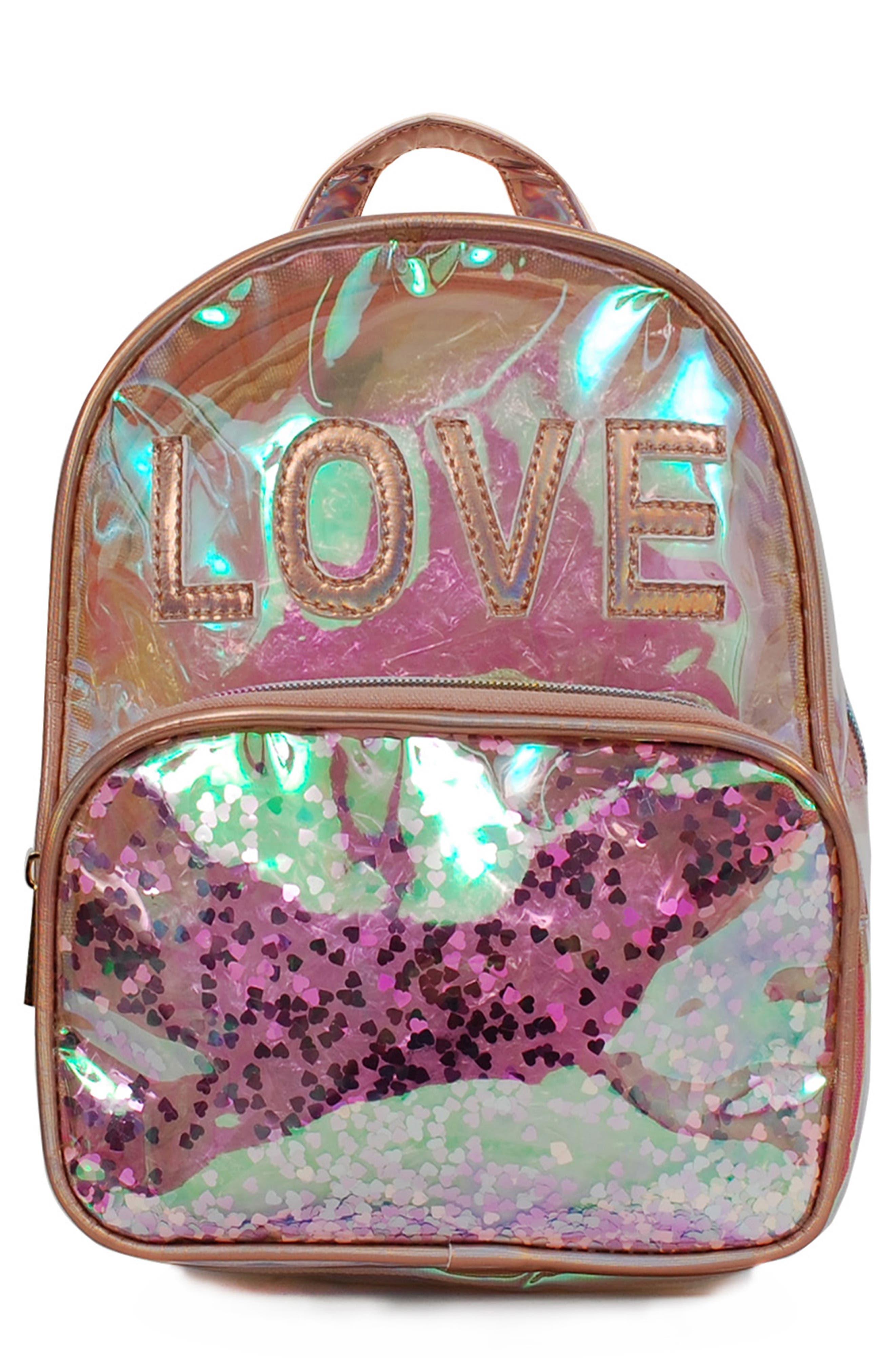 Girls Omg Love Iridescent Mini Backpack  Metallic