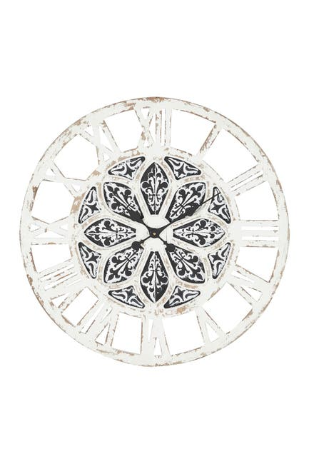 """Image of Willow Row Large Round Distressed White Wood Wall Clock - 28"""" X 28"""""""