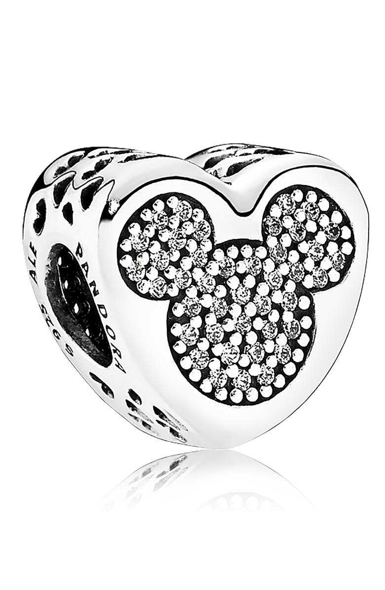 PANDORA Disney Mickey & Minnie True Love Charm, Main, color, SILVER