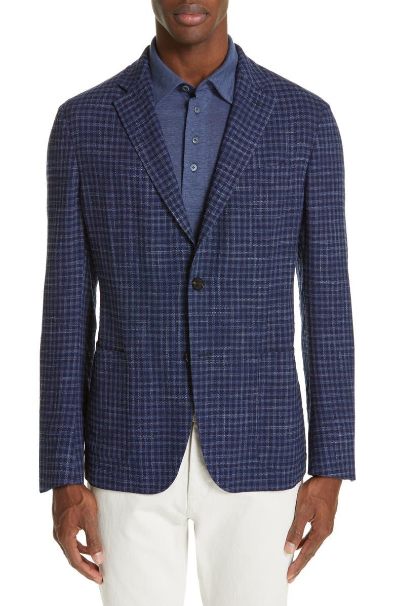 ERMENEGILDO ZEGNA Informale Classic Fit Check Wool Blend Sport Coat, Main, color, 416