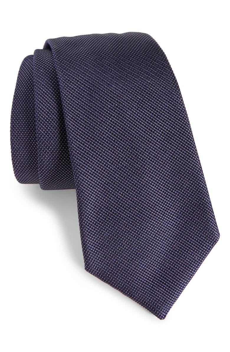 EMPORIO ARMANI Solid Silk Tie, Main, color, NAVY BLUE
