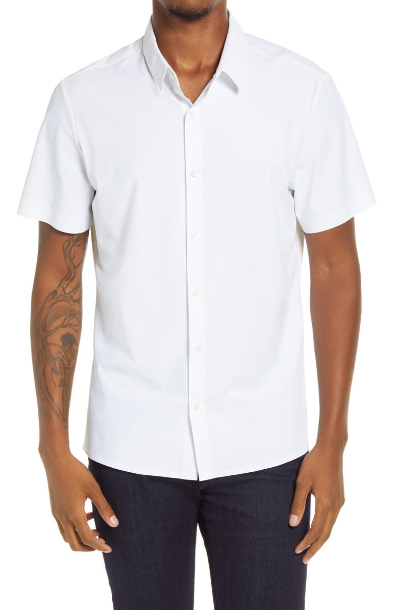 7 DIAMONDS American Me Slim Fit Short Sleeve Button-Up Performance Shirt, Main, color, WHITE